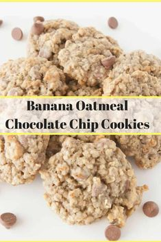 Banana Oatmeal Chocolate Chip Cookies- a soft oatmeal cookie that's perfect to use up over ripe bananas and give you your chocolate fix at the same time!