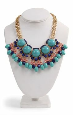 Deb Shops Double Chain Statement #Necklace with Stone Fringe Design $7.74