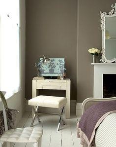 gray + lilac bedroom