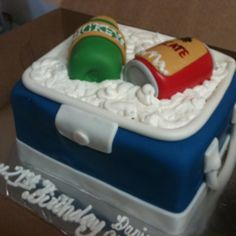 Icechest cake with Mickey beer bottle and Tecate can. Facebook: Totally Baked by Raquel Ibanez
