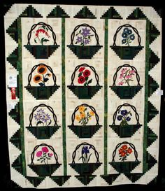 Log Cabin Baskets quilt by Ruth McCormick basket case, case quilt, log cabins, basket quilt, appliqu quilt, quilti stuff, quilt bee