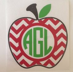 Chevron Apple Personalized Monogram Vinyl by SassyMonogramAndMore, $3.50