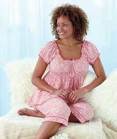 Plus-Size Knit Capri Pajama Sets