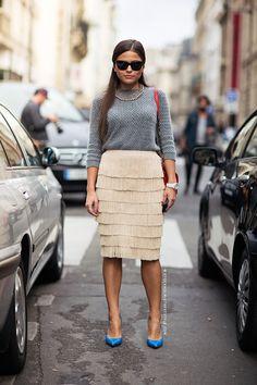 H&M fringe skirt #StreetStyle