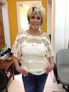Blusa de croche de grampo Ana Maria Braga.  http://feiticeiradasagulhas.blogspot.com.br/2013/01/croche-de-grampo.html