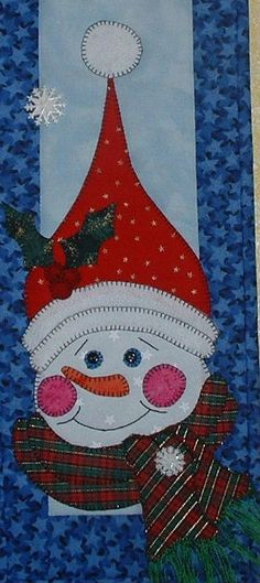 Jolly Snowman  Quilted Wall Hanging Pattern by JenKariArts on Etsy.  Like this design for a mug rug.
