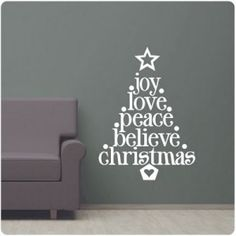 This contemporary tree decal makes the holidays fun and exciting.