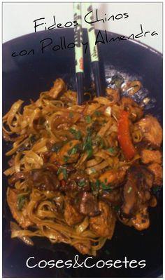 Fideos Chinos con Pollo y Almendras para los apasionados por la comida china!