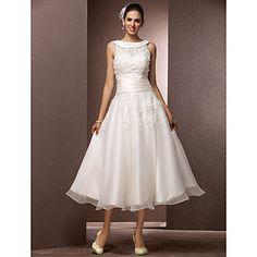 A-line Bateau Tea-length Organza Wedding Dress With A Wrap – GBP £ 139.19