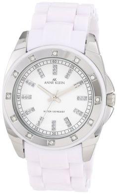 Anne Klein Women's 109179WTWT Silver-Tone Swarovski Crystal Accented White Plastic Watch: Watches: Amazon.com