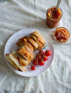 Grilled Cheese w Tomato Chutney / White on Rice