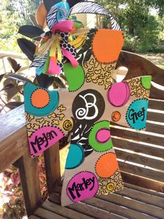 Personalized funky wooden cross for your front door or entryway. Might paint it on burlap. Fun project. (Or buy on Etsy $50)