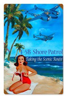 Vintage Shore Patrol  - Pin-Up Girl Metal Sign, $39.97  #retro #vintage #homedecor #jackandfriends #tinsign #metalsign #gameroom #walldecor #nostalgia
