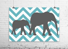 Elephant Chevron Art Set-By Samantha
