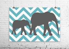 Elephant Chevron Art Set-By Samantha