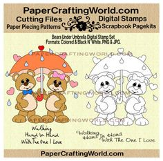 Bears Under Umbrella Digital Stamp. Pre-Colored and Black and White. Direct Link: http://www.papercraftingworld.com/item_784/Bears-Under-Umbrella-Digital-Stamp.htm