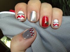 nail arts, buckey style, ohio state nails, state manicur