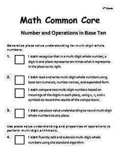 4th Grade Math Common Core Checklist (4.NBT)