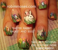 green grass with bunnies and easter eggs painted on nails- what detail