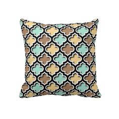 Unique, classy, trendy and pretty pillow. Beautiful pastel teal turquoise blue, light sandy beige and coffee brown quatrefoil lattice or trellis pattern design. For the hip fashion trend setter, vintage retro, modern abstract geometric or nouveau deco motif lover. Cute and colorful birthday gift or Christmas present. Original, cool and fun pillow for the master or children's bedroom, dorm, nursery, living or family room, cabin, beach house, cottage, river or lake vacation home.