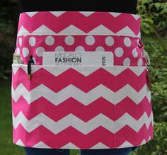 Vendor Apron Craft Apron in Hot Pink White Chevron by PunkiePies
