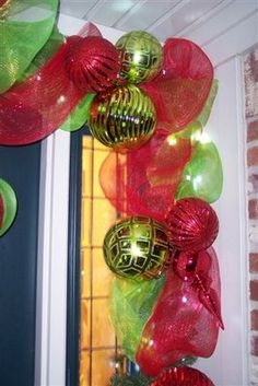 Great door decoration tutorial! holiday, the doors, door ways, christmas door decorations, christmas decorations, christma decor, front doors, garland, deco mesh