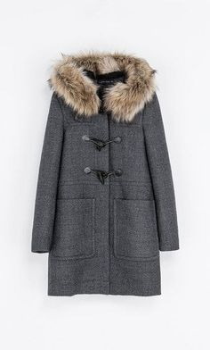Zara Hooded Fur Coat in Gray (Grey)