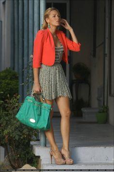 emerald, colors, blake lively, serena style, fashion icon, beauti, serena van, celebr fashion, veggie burgers