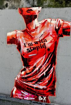 I'm with Stupid in Paris . Street Art Without Borders, via Flickr. #graffiti #street #art