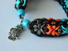 Owl Love STARBURST Rainbow Loom Bracelet. Note beads and charm closure.