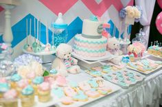 Chevron baby shower dessert table!  See more party planning ideas at CatchMyParty.com!