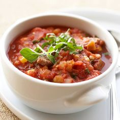This Chipotle Pork Chili takes just 25 minutes to make from start to finish, perfect for busy weeknights. More lunch ideas: http://www.bhg.com/recipes/healthy/lunch/myplate-lunch-ideas #myplate #protein