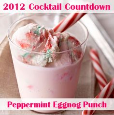 Christmas, eggnog punch with peppermint ice cream