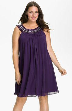 JS Boutique Beaded Chiffon Trapeze Dress (Plus) | Nordstrom