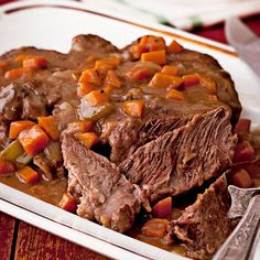 Our Fork-Tender Pot Roast Recipe uses a garlic and red wine marinade to get the perfect tender roast. More pot roast recipes: http://www.bhg.com/recipes/beef/roasts/pot-roast-recipes/?socsrc=bhgpin121913potroastrecipes&page=9