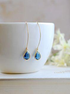 Montana Blue Drop Earrings, Gold Plated Montana Blue Sapphire Blue Teardrop Long dangle Earrings, Wedding Bridal Jewelry, Bridesmaid Gift