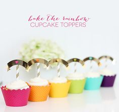 Rainbow Cupcakes with Adorable Flag Toppers :: Tutorial from Damask Love for The TomKat Studio