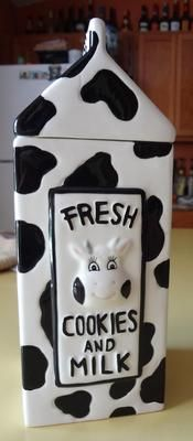 Milk And Cookies Cow milk carton cookie jar