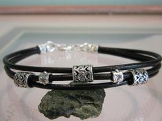 Men's Black Leather Cord Sterling Silver Beaded by FamilyManJewels, $22.00