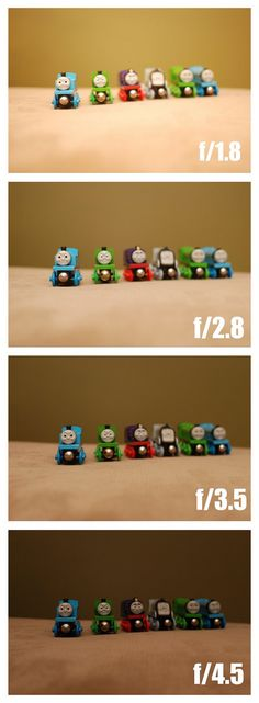 four images of the same objects taken at different Aperture settings. I shoot with a Nikon D60 and used a 35mm lens.