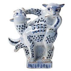Helge Christoffersen Danish Ceramic Cat Sculpture (1948)