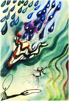 'The Pool of Tears' - Alice's Adventures in Wonderland, illustrated by Salvador Dali, 1969, williambennettgallery #Illustration #Alice_in_Wonderland #Salvador_Dali #williambennettgallery