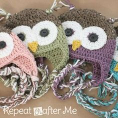 Repeat Crafter Me Owl Hat | links to 10 free kids hat patterns on The Yarn Box