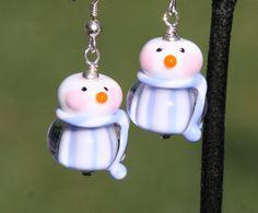 Adorable Snowman DeSIGNeR SRA Lampwork Sterling by chuckhljal, $35.00