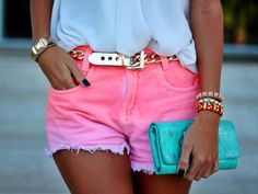color denim shorts