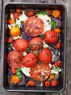 warm #roasted tomato, onion, and feta #salad. ---- ALLDAY ENERGY - Heart #healthy and fights #muscle fatigue!  Energy for #Athletes!!  alldayenergy.net