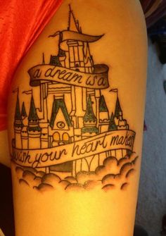 My Disney Castle tattoo. For my love and affinity of everything Disney. I got it done at Classic Electric in Frederick Maryland. The artists name is Tom. He was awesome.