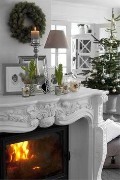 silver christmas, green christmas, fireplace surrounds, fireplace mantels, white christmas