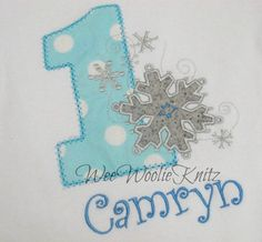 Personalized Onederland Birthday T Shirt  Girls Boys Snowflakes Wonderland First Birthday Any Number Custom Monogrammed  Applique on Etsy, $23.69  With leggings? For cake smash?