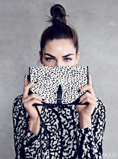 Frame your face with this season's #beauty must have -  bold eyebrows! vogue, miranda kerr, fashion, bag, clutch, black white, jessica hart, patrick demarchelier, print